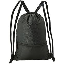 WinCret Sackpack para Hombres Mujeres Niños - Impermeable Mochila Drawstring Gymsack con gran bolsillo de cremallera para baloncesto, fútbol, natación, fitness, viajes, compras