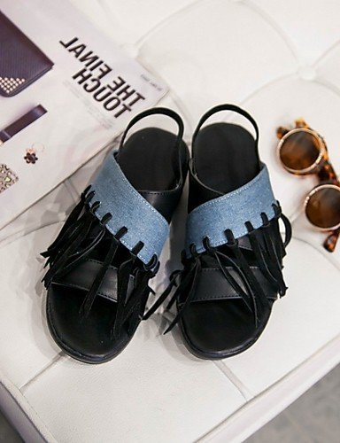 LFNLYX Chaussures Femme-Mariage / Bureau & Travail / Habillé / Décontracté / Soirée & Evénement-Noir / Rose / Blanc / Orange-Talon Compensé- Black