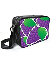 Snoogg Purple Grape Sticker Background Card In Vector Format Leather Unisex Messenger Bag Material PU