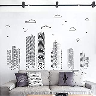 xsongue Solid Color Modern Architectural Art Wall Stickers Home Decor Living Room Bedroom Kitchen Accessories Mural Decal DIY