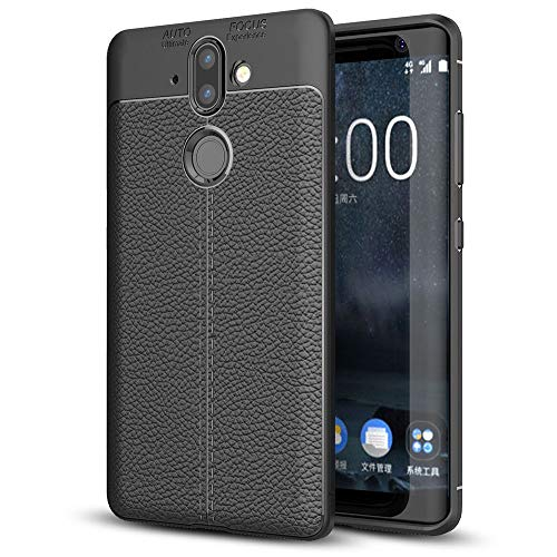 NALIA Leder-Look Handyhülle kompatibel mit Nokia 8 Sirocco, Ultra-Slim Silikon Case Cover, Dünne Hülle Backcover Phone Gummi Schutzhülle, Stoßfeste Etui Handy-Tasche Smartphone Bumper TPU - Schwarz
