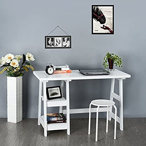 Aingoo Home Office Table Computer Workstation Wooden Writing Desk with Storage Shelves, White