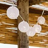 Guirnalda 5,25 m, 16 farolillos blancos diam. 8 cm, LED luz cálida, mando control, cableado transparente, guirnalda de luces a pilas, luces de Navidad