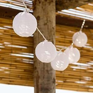 Guirlande avec lanternes lumineuses 5,25 m, 16 lampions blancs Ø 8 cm, LED: blanc chaud, avec contrôleur, câble transparent, à piles