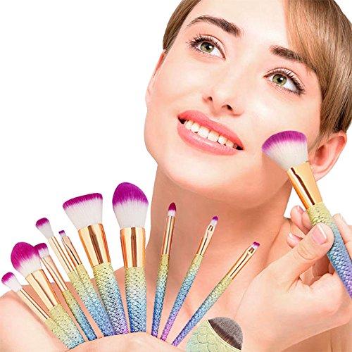 Apr.Fairy Mermaid Makeup Brushes Set Chubby Fish Foundation Brush 11pcs Soft Nylon Bristles Beauty Make Up Kits With Box, Blending Blush concealer Eye Face Lip Cosmetic Tools