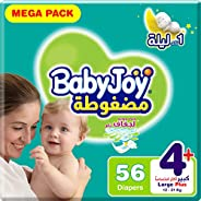 BabyJoy Compressed Diamond Pad, Size 4+, Large+, 12-21 kg, Mega Pack, 56 Diapers