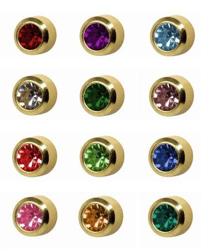 12 paia di orecchini a perno, pietra portafortuna, placcati oro, 5 mm, castone