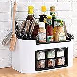 Küchenregale WSSF Küche Multifunktions Gewürz Haushalt Küche liefert Lagerregal (39,5 * 20 * 23cm, Farbe Optional) (Farbe : Weiß)