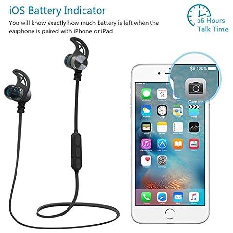 Omiky® Magnetic Wireless Bluetooth In-Ear Kopfhörer Deep Bass CSR Sport Headset Mit MIC (Schwarz)