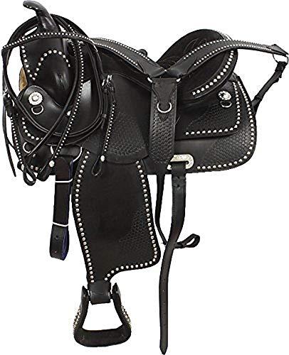 Zohran Pferde-Sattel aus Leder, handgeschnitzt, inklusive, WS-132 Black, 16 Inch