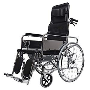 MYYW Fold light Wheelchair Fully lying Multi-angle Adjustment Disability Old man wheelchair Detachable pillow Before and after brake stable support