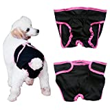 Tiaobug Haustier weibliche Hund Sanitär Windel Hygieneunterhose Physiologische Unterwäche (M (Brust:13.0-20.0″/33-50cm), Schwarz) - 2