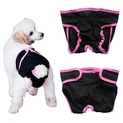 Tiaobug Haustier weibliche Hund Sanitär Windel Hygieneunterhose Physiologische Unterwäche (M (Brust:13.0-20.0