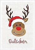 Erhältlich im 1er 4er 8er Set: Lustige Weihnachtskarte als Gutschein (Klappgrußkarte/Weihnachtsgutschein / Grußkarte/Glückwunschkarte / Neujahrskarte) zu Weihnachten mit Rudolf (Mit Umschlag) (4)