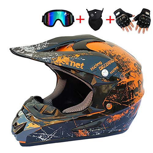 Motocross Helm Adult Schwarz Orange mit Handschuhe Maske Brille, Unisex Crosshelm Motorrad Enduro MTB Downhill Helm Cross Off Road Helm für Motocross Off-Road Enduro Sport Sicherheit Schutz,XL