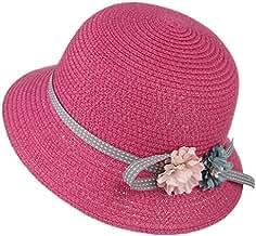 GEMVIE Sombrero Gorro Paja Niñas Pescador Ala Ancha Sol Verano Flores  Elegante Circunferencia 52cm Rosa 3a93da64ed5