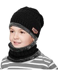 0a40efd37faf Hiver Enfant doublure polaire Épaissir chaud tricoté Écharpe et Chapeau Set  Slouchy chaud sports de plein