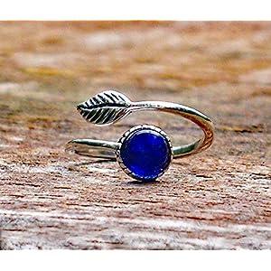 Bottled Up Designs Recycelte Vintage Kobalt 1960 Haut Creme Jar Sterling Silber Leaf botanische Sammlung Ring