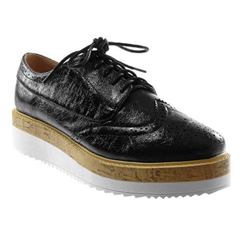 Angkorly Damen Schuhe Derby-Schuh - Plateauschuhe - Perforiert - Glänzende - Wooden Keilabsatz High Heel 4 cm Schwarz