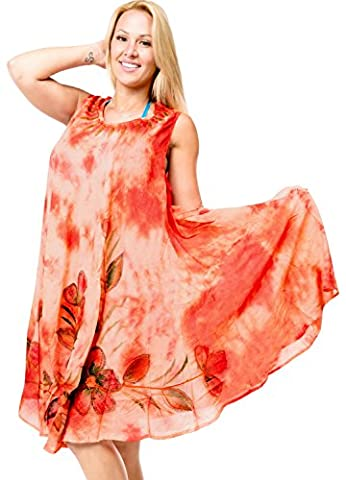 La Leela one size fits most Kleid coverup Blumen kurzen Kaftan Trägershirt Orange