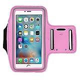 Gudior Laufen & Bewegung Armband für iPhone X, 8, 7 Plus 6 Plus 6s Plus, Samsung Galaxy S6 / S7 Edge s8 / s8 Plus, LG G5, Note 2/3/4/5, Schlüsselhalter, Wandern, Radfahren, Walking Sport Armbinde. (Über 5 '' - pink)