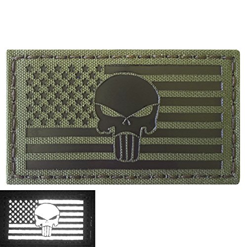 OD Green Infrared IR Punisher Skull USA American Flag 3.5x2 Olive Drab IFF Tactical Morale Touch Fastener Patch