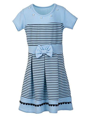 Mädchen Kleid Kinder Kurzarm Langarm Festkleid Blumenmädchen in vielen Farben M369Kbl Kurzarm Blau...
