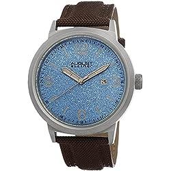 August Steiner Reloj Azul Dial Acero inoxidable Correa de lona color marrón para hombre