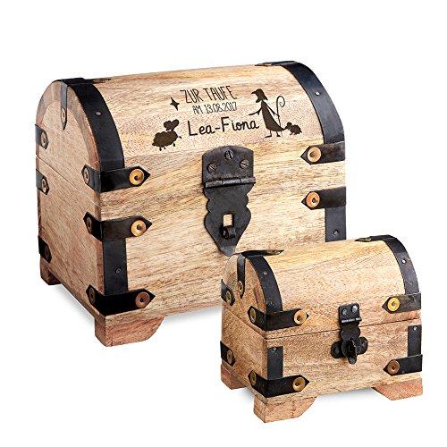 Casa Vivente – Geschenkset zur Taufe – Große Geldschatztruhe mit Gravur – Personalisiert mit [Namen] und [Datum] – Kleines Schmuckkästchen – Helles Holz – Verpackung für Geldgeschenke Oder Schmuck (Schatz-truhe-aufbewahrungsbox)