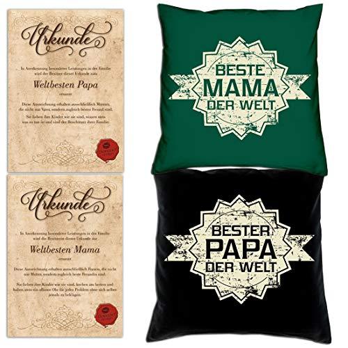 Kissen-Set mit Urkunde - B e s t e r Papa + B e s t e Mama der Welt - Geschenk-Idee für Eltern - Bundle inkl Füllung