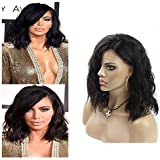 """[35% Off]Yiya 12"""" 7A Bob Wavy Brazilian Virgin Human Hair Peluca Natural Wave Lace Front Wigs Glueless Full Lace Front Wig Can be Curled Natural Black"""