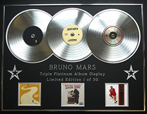 BRUNO MARS/Dreifach-Platin Album anzeigen/Limitierte Edition/COA/DOO-WOPS & HOOLIGANS + UNORTHODOX JUKEBOX + 24K MAGIC