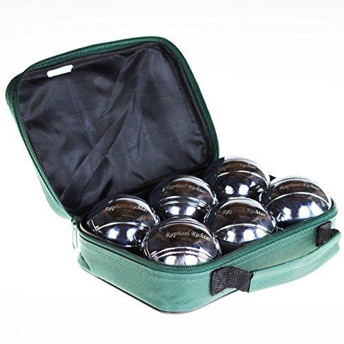 Geschenkidee.de Boule-Set mit Gravur | Boules Spielset mit individuell-eingravierten Kugeln inkl. Stofftasche | Metallkugeln