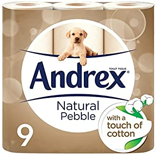 Andrex Natural Pebble Toilet Tissue, 9 Rolls