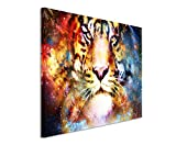 XXL Fotoleinwand 120x80cm Digitale Grafik Collage – Magischer Space Tiger auf Leinwand exklusives Wandbild moderne Fotografie für ihre Wand in vielen Größen