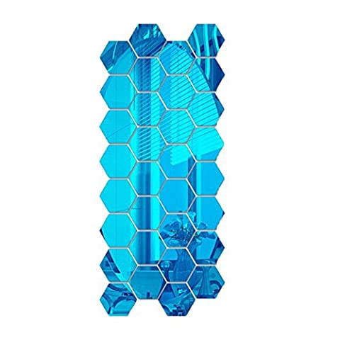 12pcs/set Blue Removable Hexagon 3D Mirror Acrylic Wall Decors Stickers Home Room DIY Art Decals