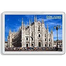 AWS Imán de PVC Duro Duomo de Milano Milan City Souvenir Ciudad Gadget Imán Fridge Magnet imán de nevera de plástico dura con imagen fotográfica Ciudad Italia Italia Dome