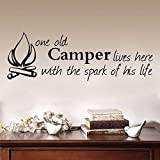 One Old CampeLives Here With The Spank of His Life Adesivi rimovibili Arte Vinile Murale Home Room Decor Wall Stickers 91cmX31cm