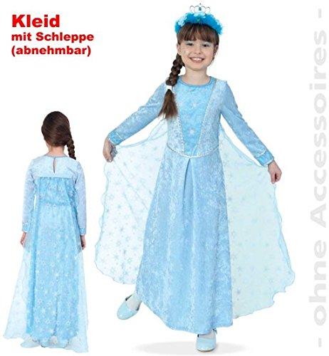 Eis Kinder Prinzessin Kostüm - narrenwelt Eisprinzessin EIS-Prinzessin 2tlg Kleid 104 mit Schleppe abnehmbar Mädchen Kinder-Kostüm Fasching