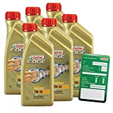 6x 1 L = 6 Liter Castrol EDGE Titanium FST™ 5W-40 Motor-Öl Motoren-Öl inkl. Castrol Ölwechsel-Anhänger; Spezifikationen/Freigaben: ACEA C3; API SN/CF; VW 502 00 / 505 00 / 505 01; BMW Longlife-04; MB-
