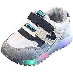 Zapatillas Unisex Niños K-Youth Zapatos LED Niños Niñas Zapatillas Niño Zapatillas para Bebés Zapatos de Bebé Zapatillas de Deporte Antideslizante Zapatillas con Luces para Niñas Niños (29 EU, Gris)