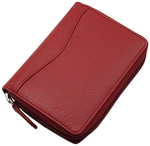myledershop Universal Leder Kreditkartenetui und Geldbörse / Geldbeutel / Portemonnaie / Portmonaise / Geldtasche / Portmonee in Schwarz oder Rot (Rot)