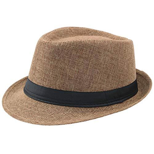 Coucoland Panama Hut Mafia Gangster Herren Fedora Trilby Bogart Hut Herren 1920s Gatsby Kostüm Accessoires (Kamel) (Stroh Hut Kostüm)