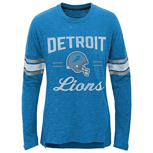NFL Mädchen Langarmshirt Team Captain, Mädchen, Team Captain Long Sleeve Slub Tee, Lion Blue, Youth X-Large (16) -