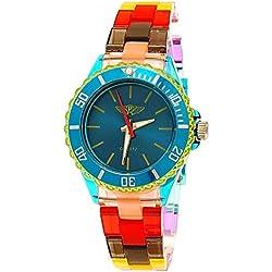 Coole NY London Rainbow Kunstoff Uhr bunte Kunststoff Damen Armbanduhr Damenuhr Kinderuhr Jungen/Mädchen Armband Uhr Türkis Blau Grün Lila Gelb inkl Uhrenbox