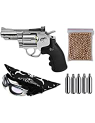 Pack Revolver Perdigón Gamo ASG 17177 Dan Wesson 2,5'' Calibre 4,5mm. Potencia 1,9 Julios + Gafas antivaho + Pañuelo cabeza decorado, + Balines + Bombonas co2