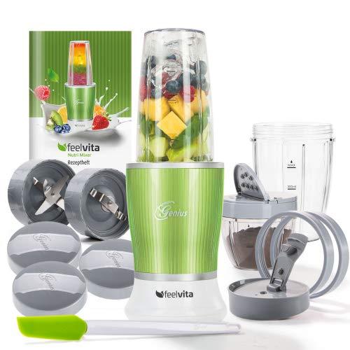 Genius Feelvita Nutri Mixer (14 Teile) Stand-Mixer Smoothie-Maker Zerkleinerungs-Maschine Shake-Mixer aus Edelstahl in grün für den Smoothie-Genuss
