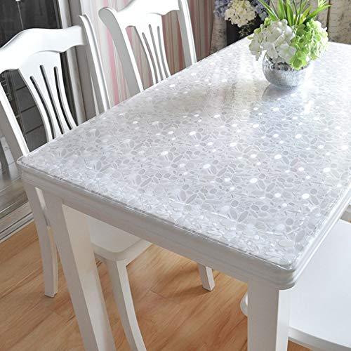 Danggl tovaglia trasparente,pvc anti-scottatura in plastica morbida tavolo in vetro opaco tavolo da tè rettangolare custodia protettiva quadrata spessore 1mm (colore : a, dimensioni : 70cm*100cm)