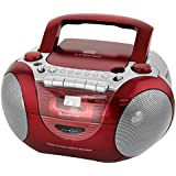 Soundmaster SCD5350RO Radio/CD-Player mit externen Mikrofon, rot