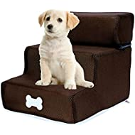 Yunhigh-uk Dog Step Stair with Removable Top Detachable Washable Ladder Cat Small Dog 3 Steps for Bed Sofa